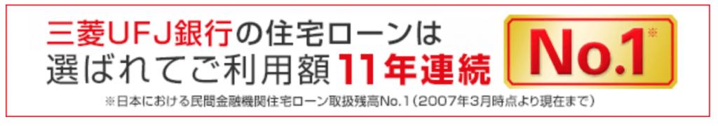 三菱UFJ銀行の住宅ローン実績
