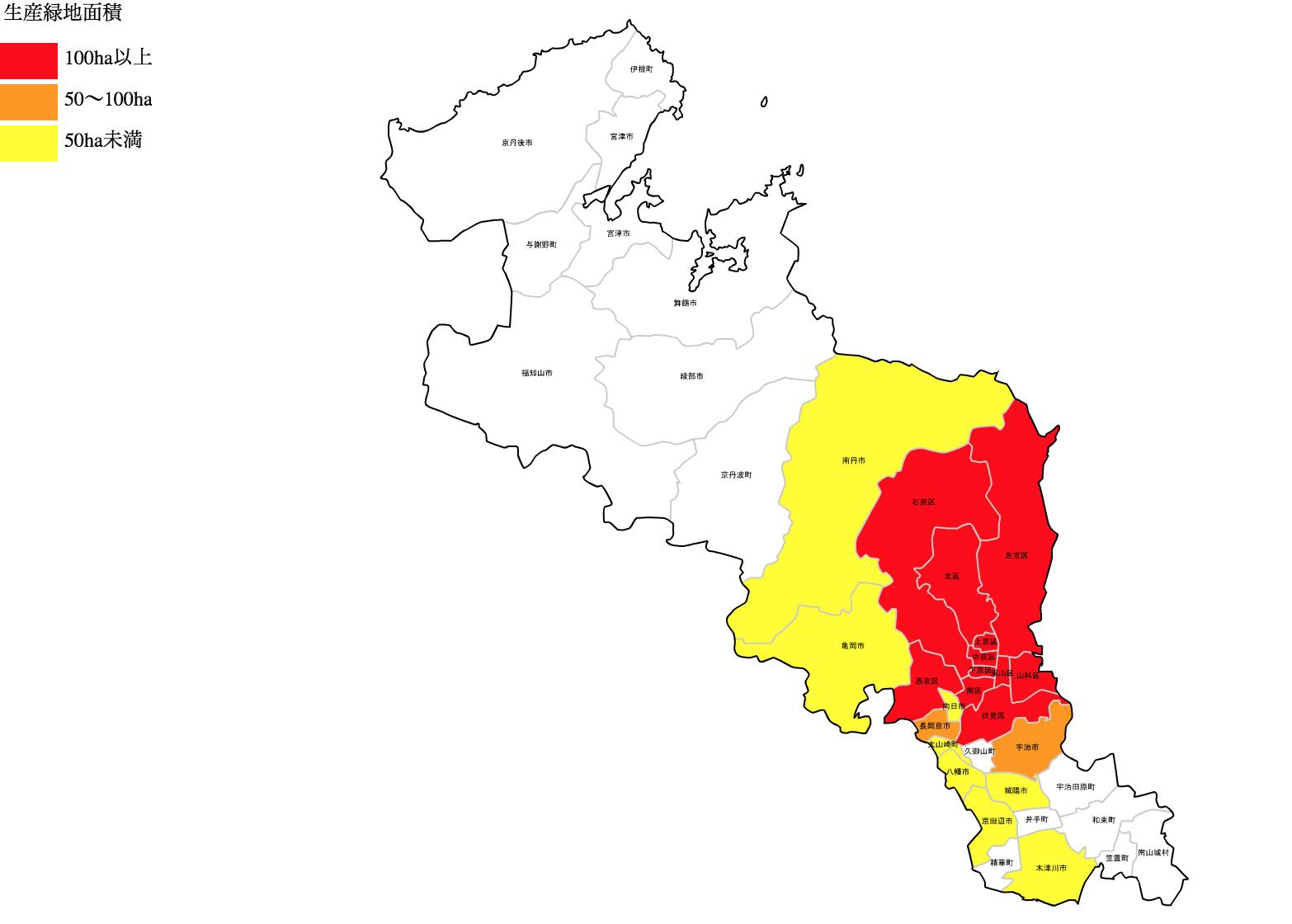 京都府の生産緑地の分布