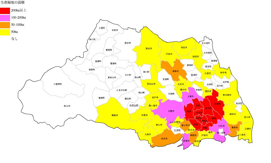 埼玉県の生産緑地面積