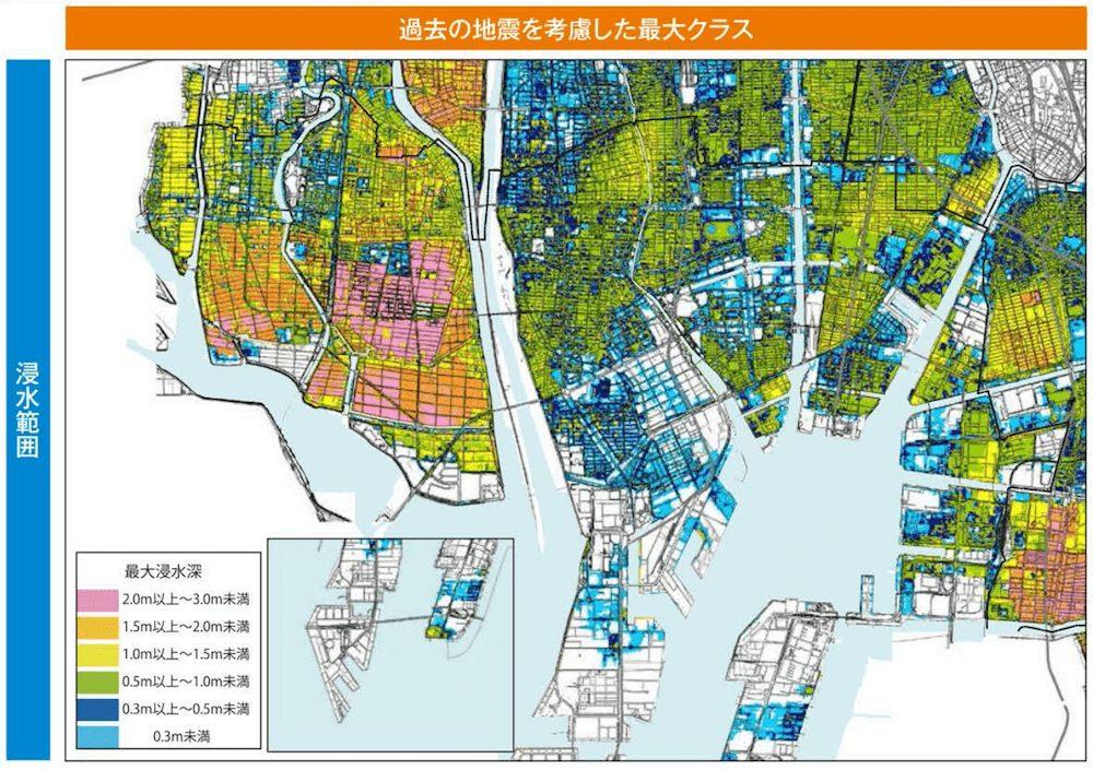 名古屋市港区の津波ハザードマップ