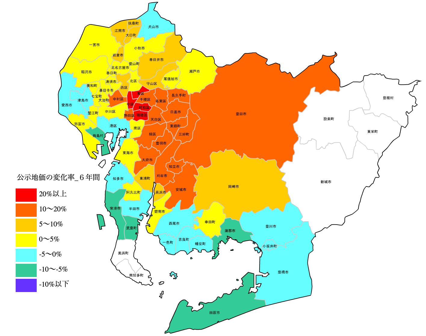 愛知県の公示地価の変化率地図 H25-H31