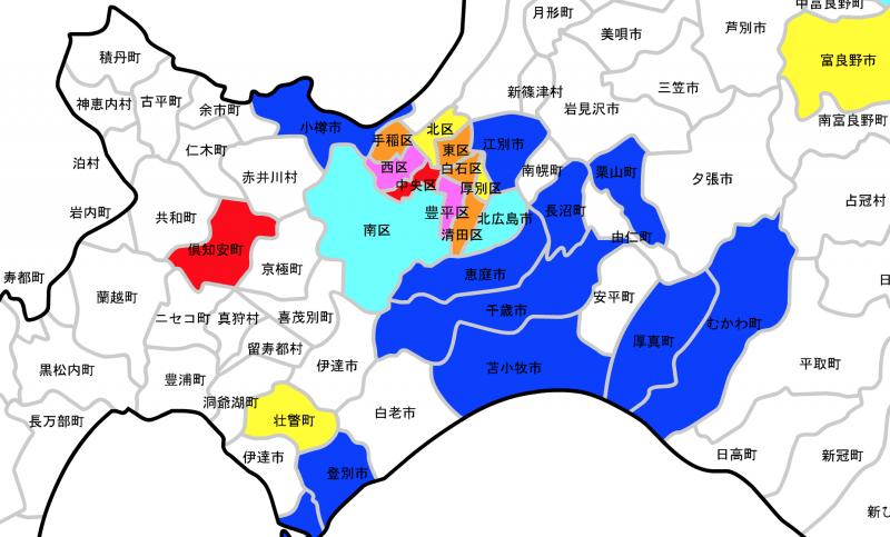 北海道の公示地価上昇率マップ中央部