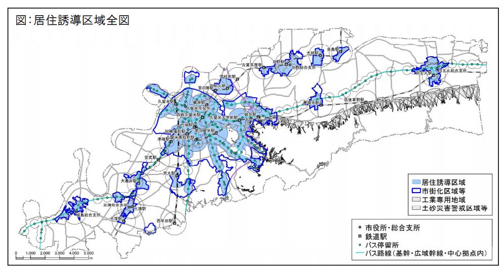 久留米市の立地適正化計画図