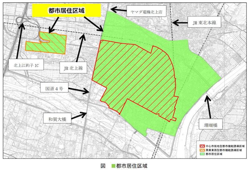 北上市の立地適正化計画図