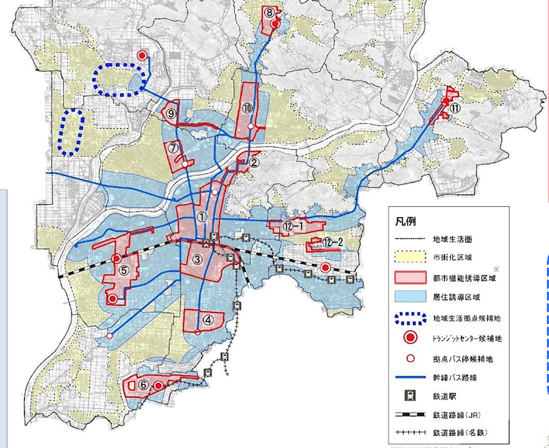 岐阜市の立地適正化計画図