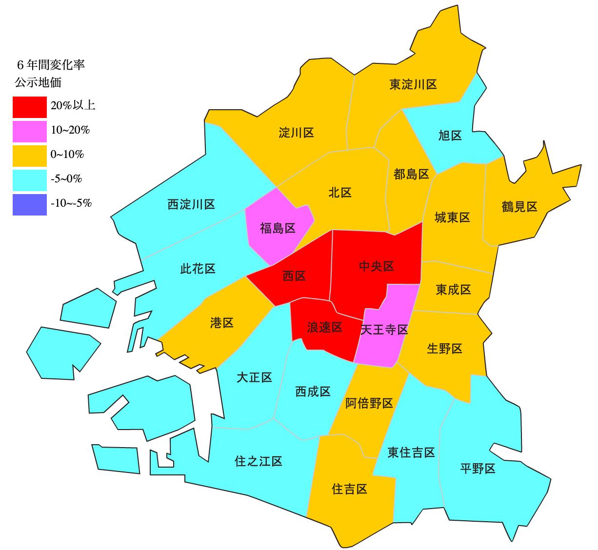 大阪市の区別の変化率図 H25-H31