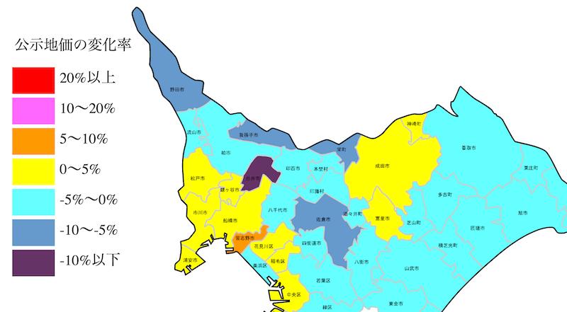千葉県の公示地価の変化率地図