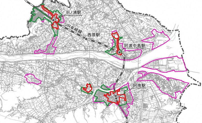 阿南市の立地適正化計画図