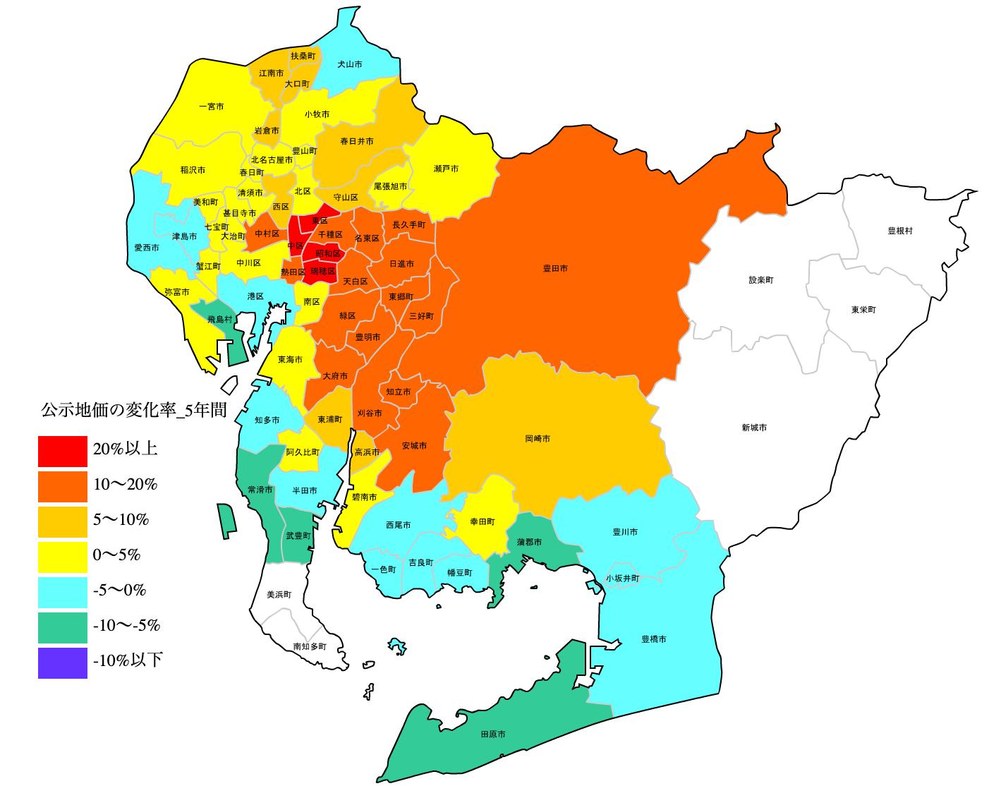 公示地価の変化率図 H25-H31