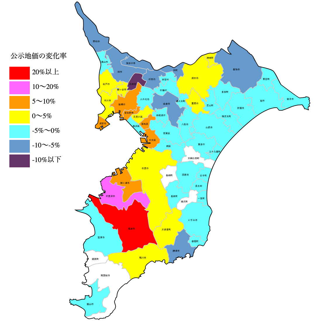 千葉県の公示地価の変化率図 H25-H31