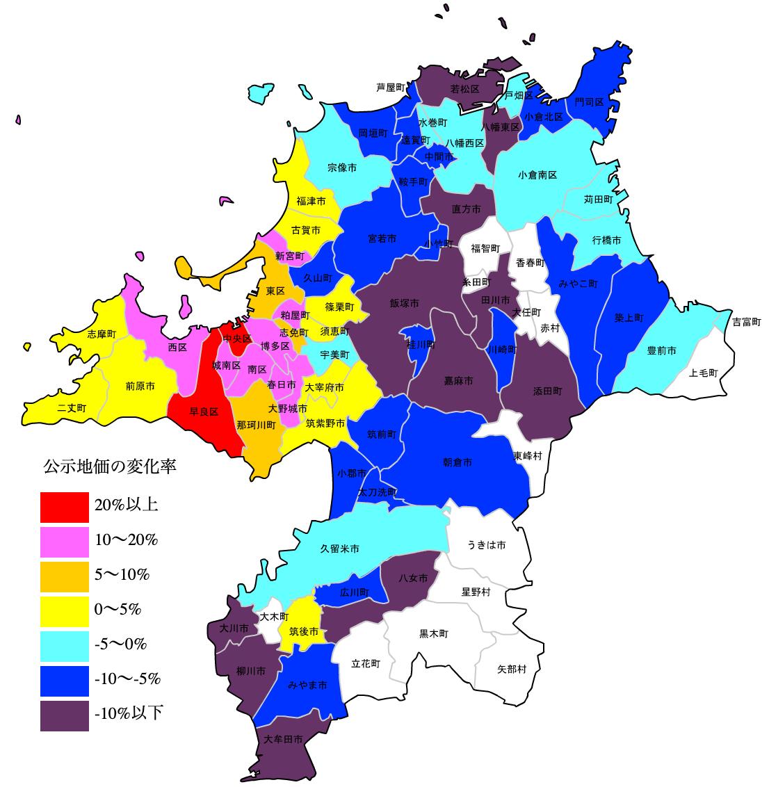 福岡県の公示地価の変化率図 H25-H31