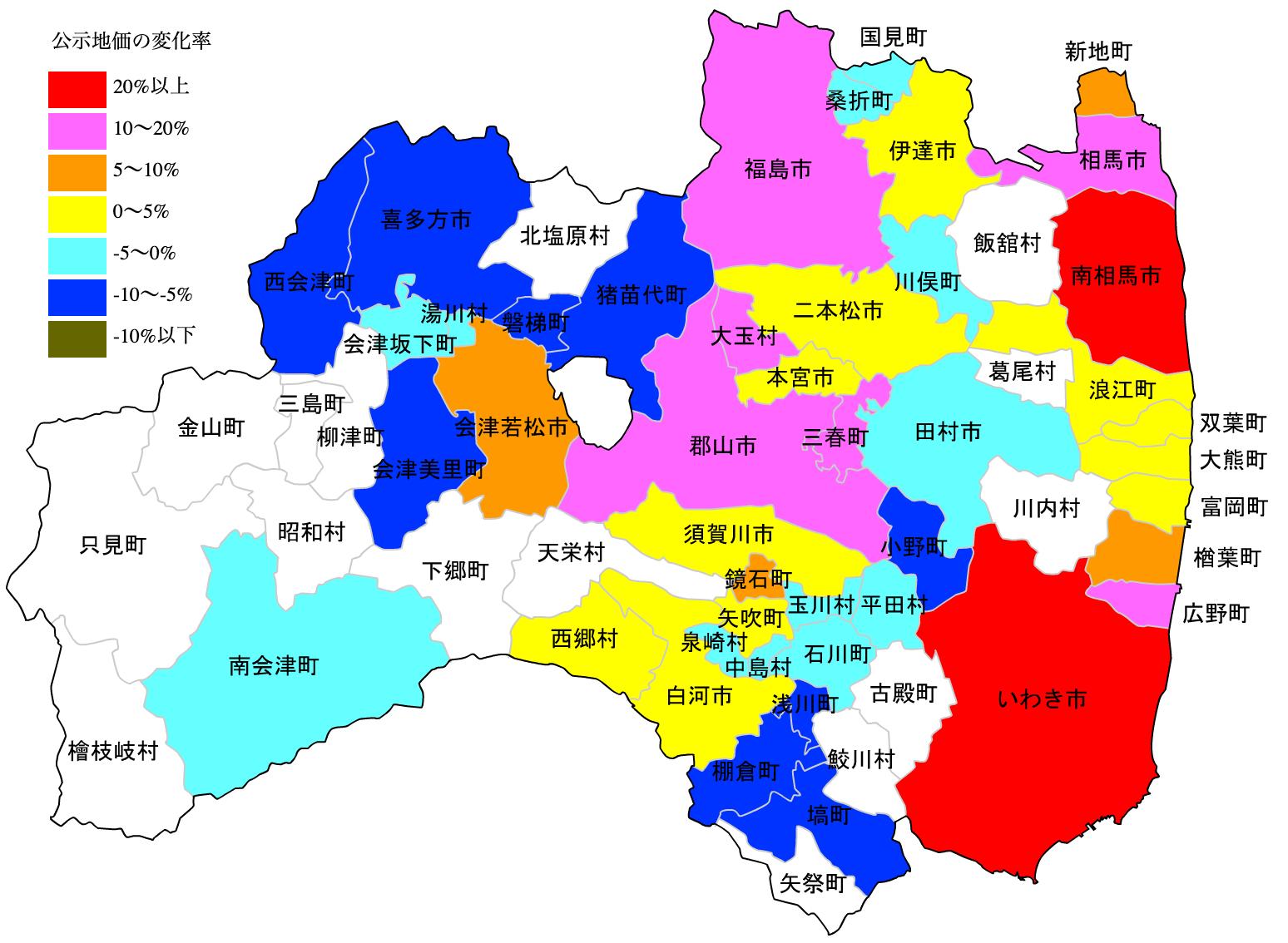 福島県の公示地価の変化率図 H25-H31