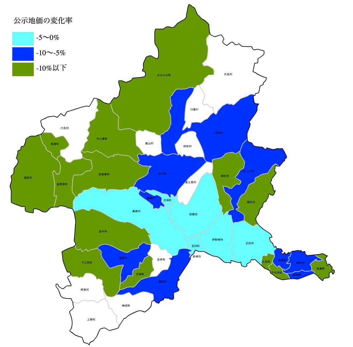 群馬県の公示地価の変化率図 H25-H31