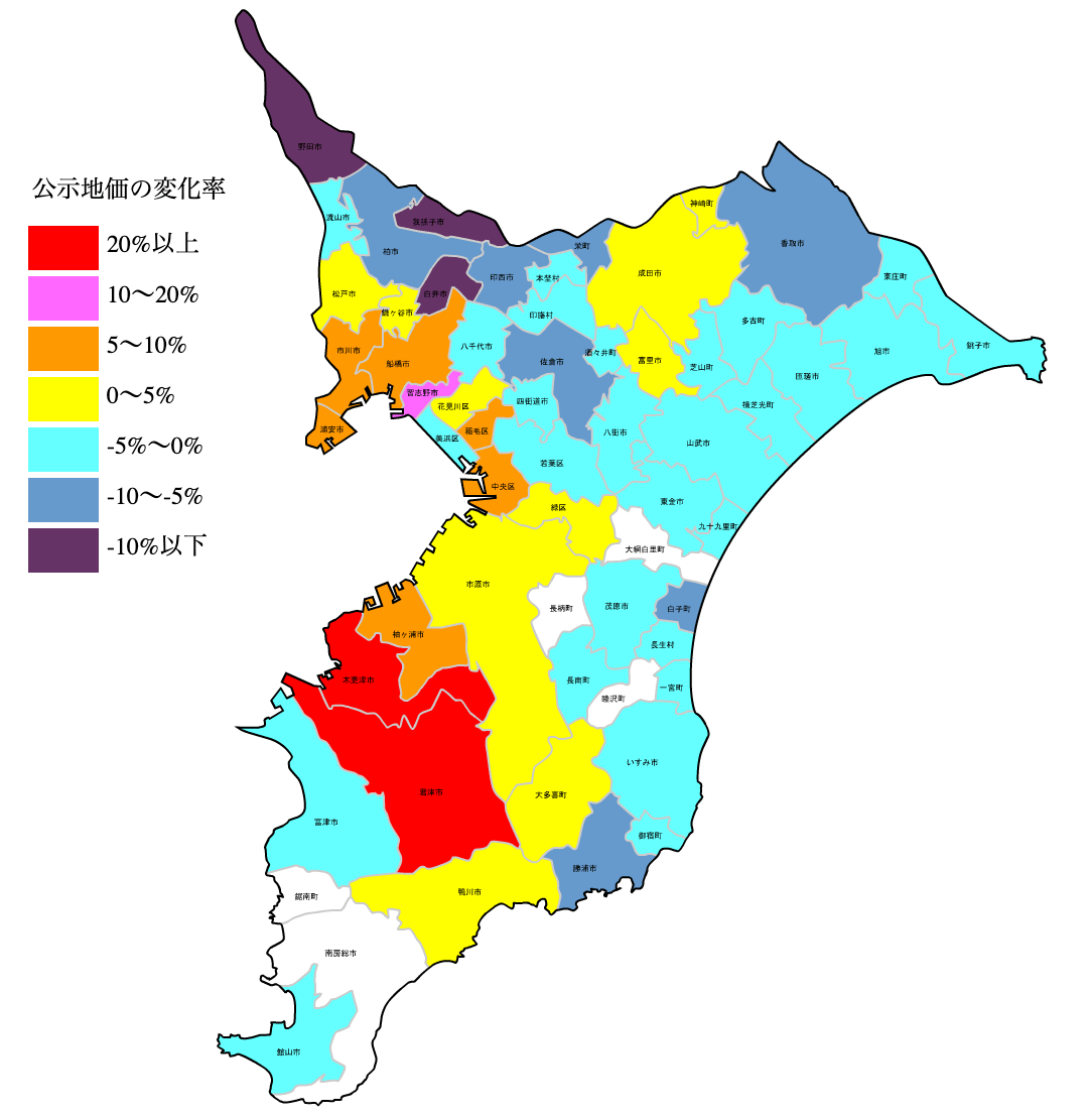 千葉県の公示地価の変化率マップ