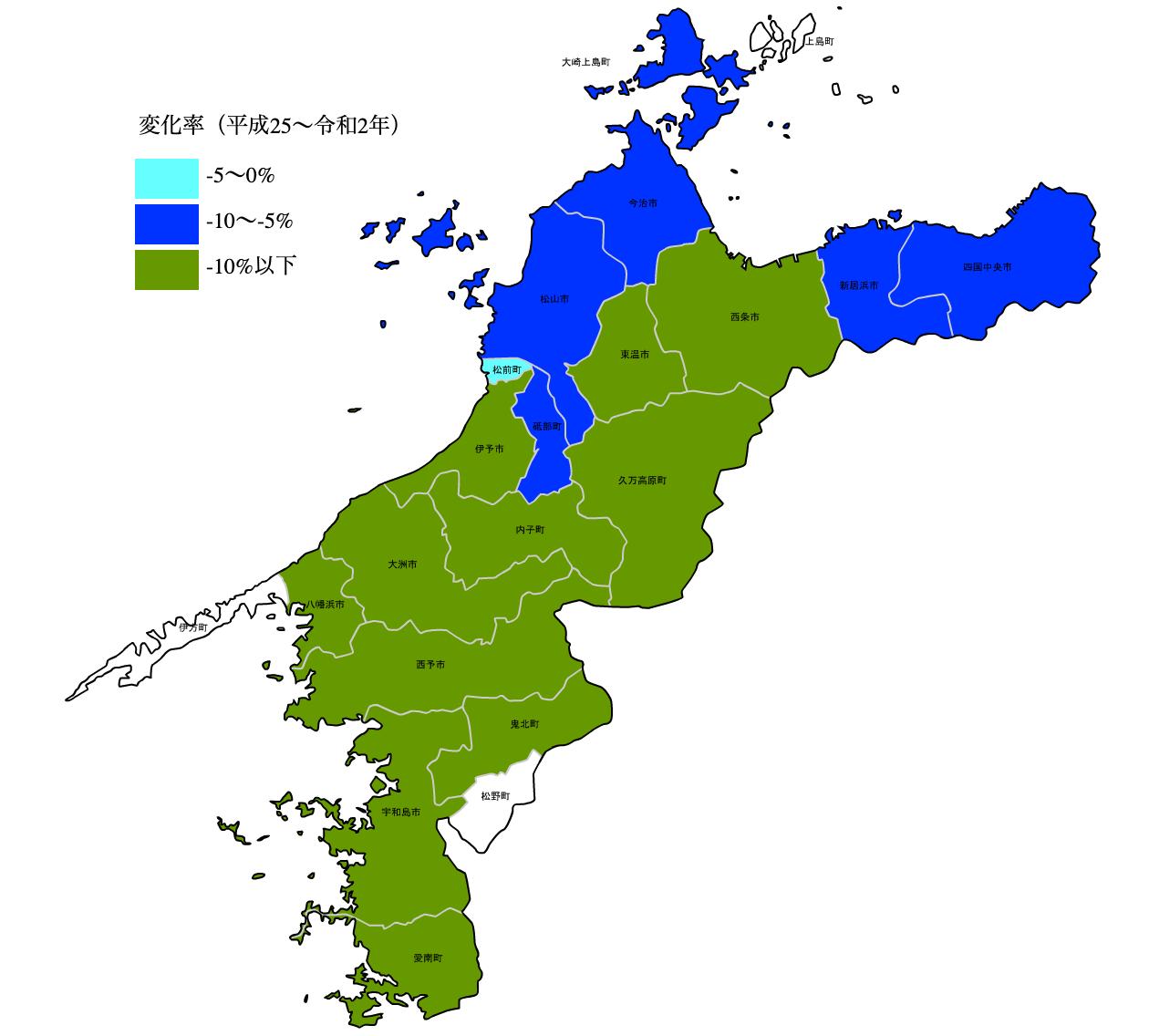 愛媛県の公示地価の変化率マップ