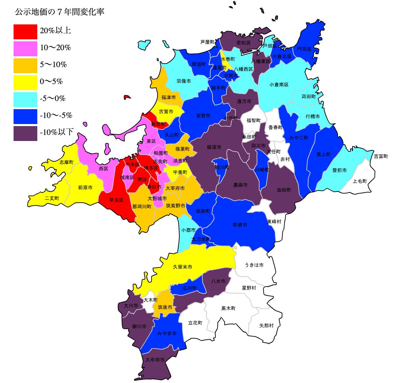 福岡県の公示地価の変化率マップ