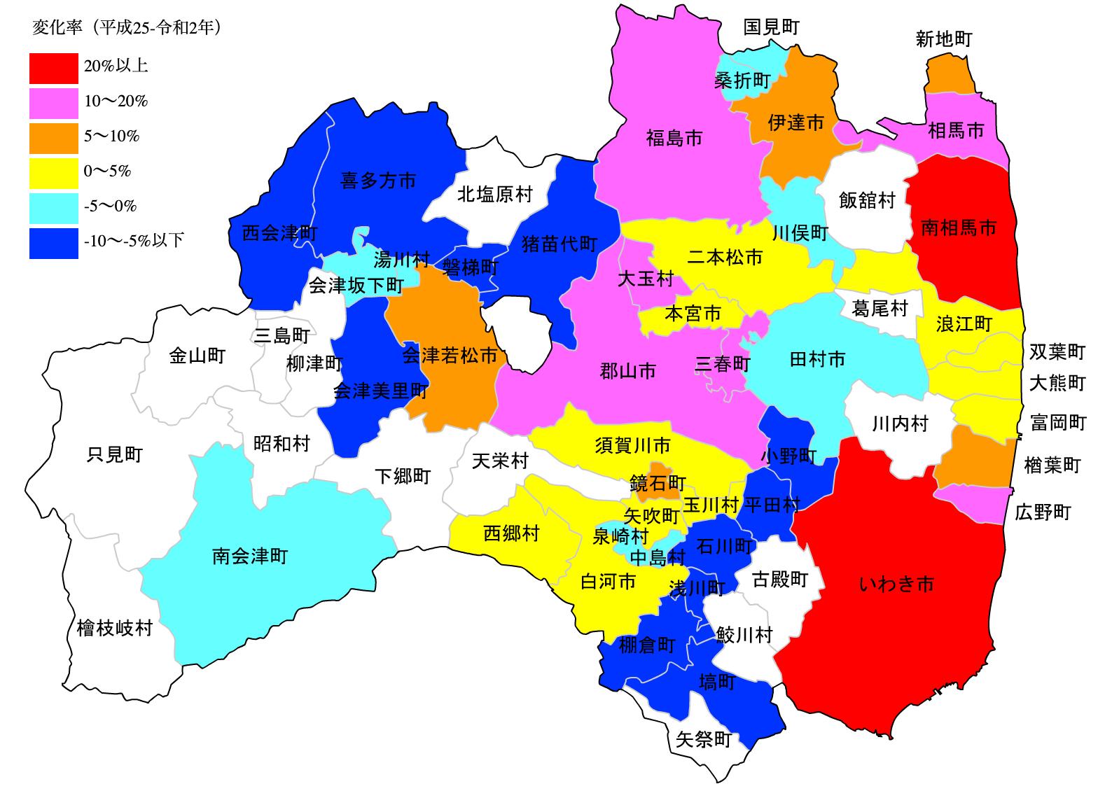 福島県の公示地価の変化率マップ