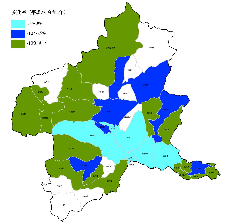 群馬県の公示地価の変化率マップ
