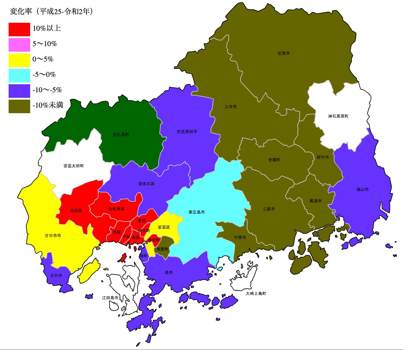 広島県の公示地価の変化率マップ