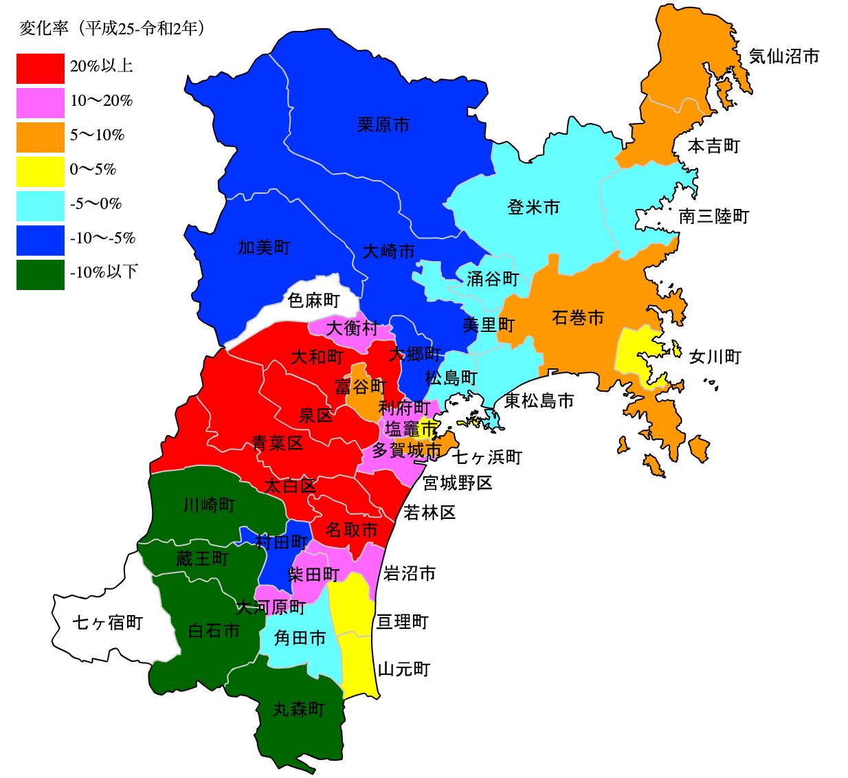 宮城県の公示地価の変化率マップ
