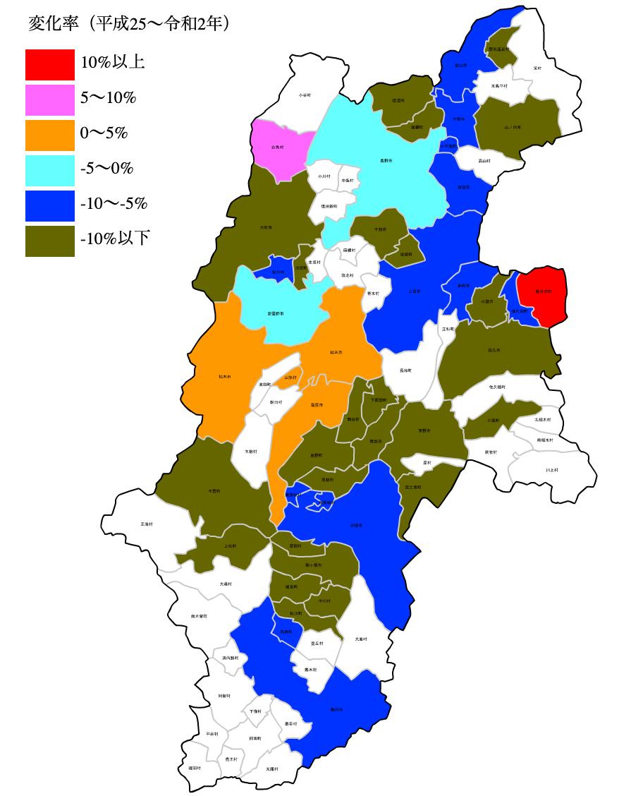 長野県の公示地価の変化率マップ
