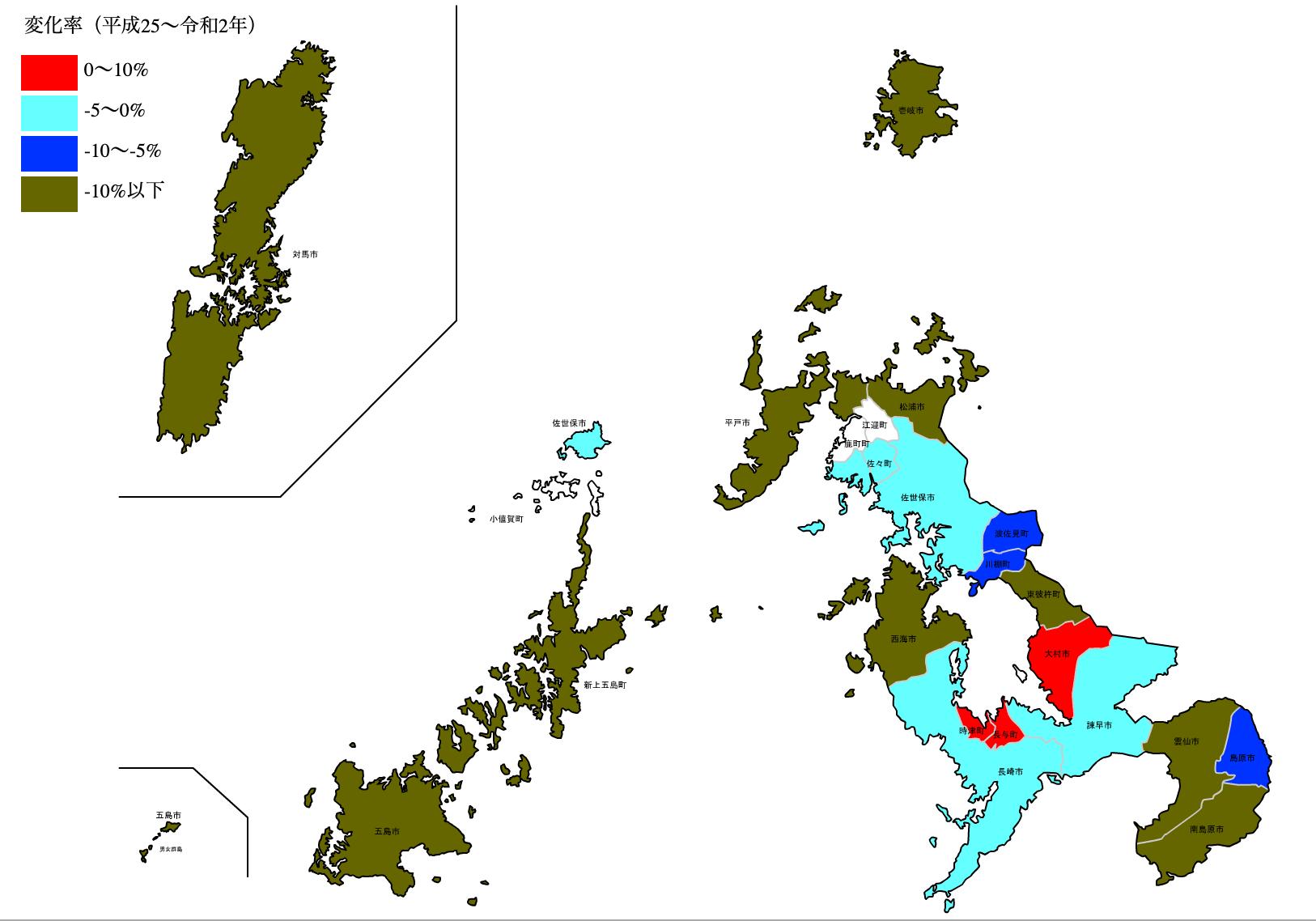 長崎県の公示地価の変化率マップ