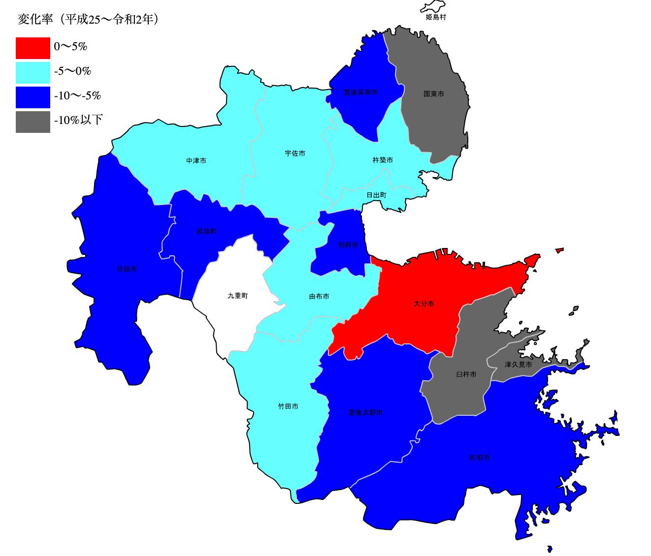大分県の公示地価の変化率マップ