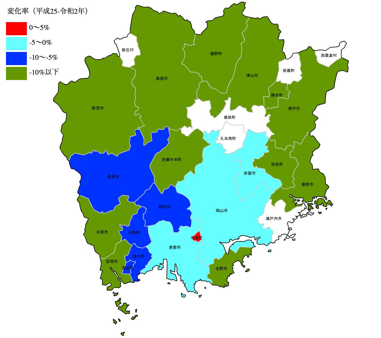 岡山県の公示地価の変化率マップ