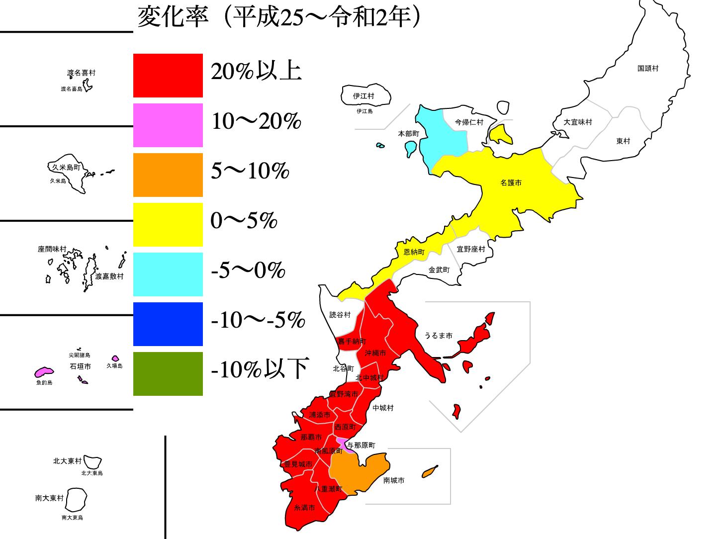 沖縄県の公示地価の変化率マップ