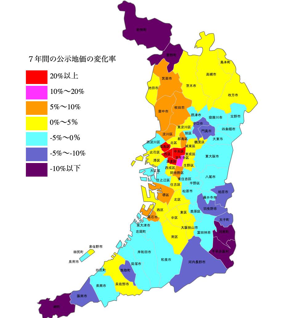 大阪府の公示地価の変化率マップ