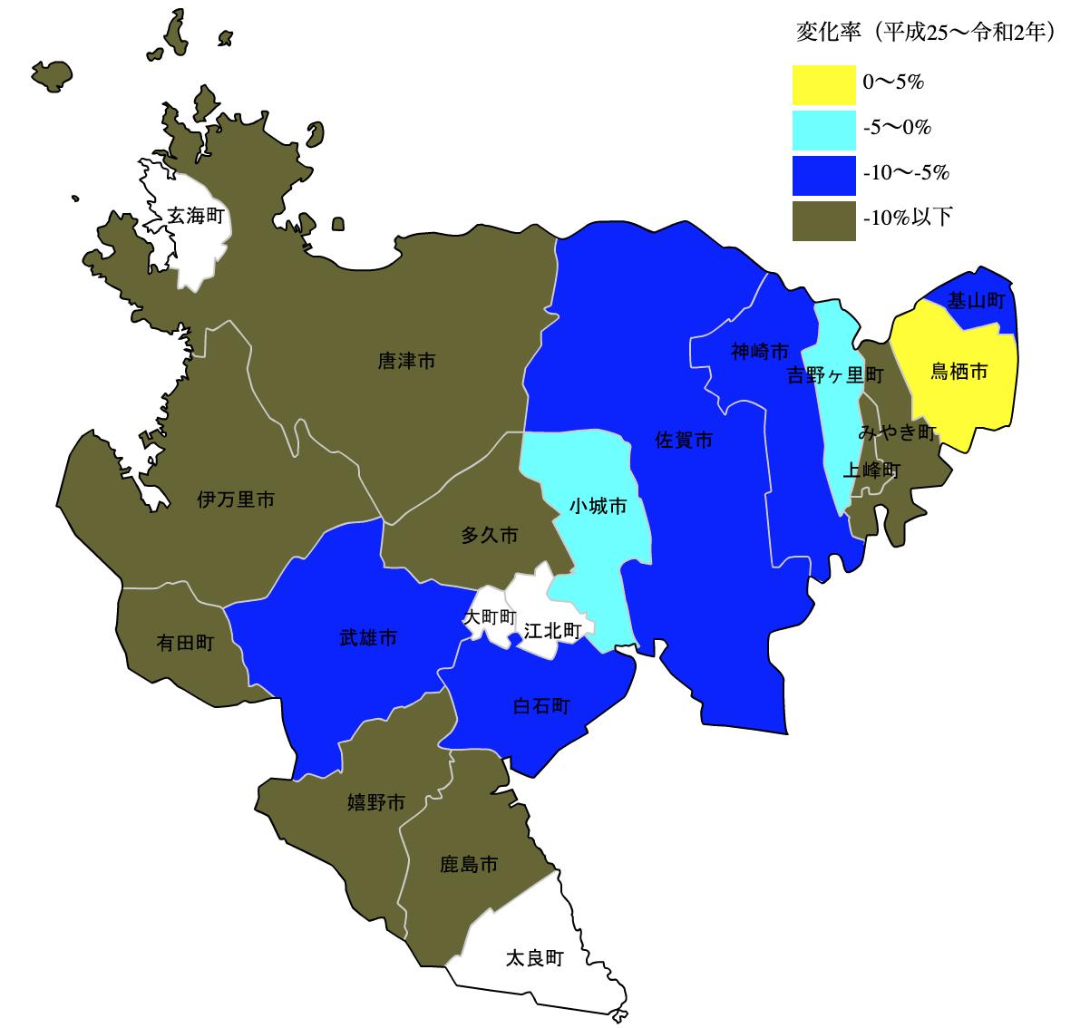 佐賀県の公示地価の変化率マップ