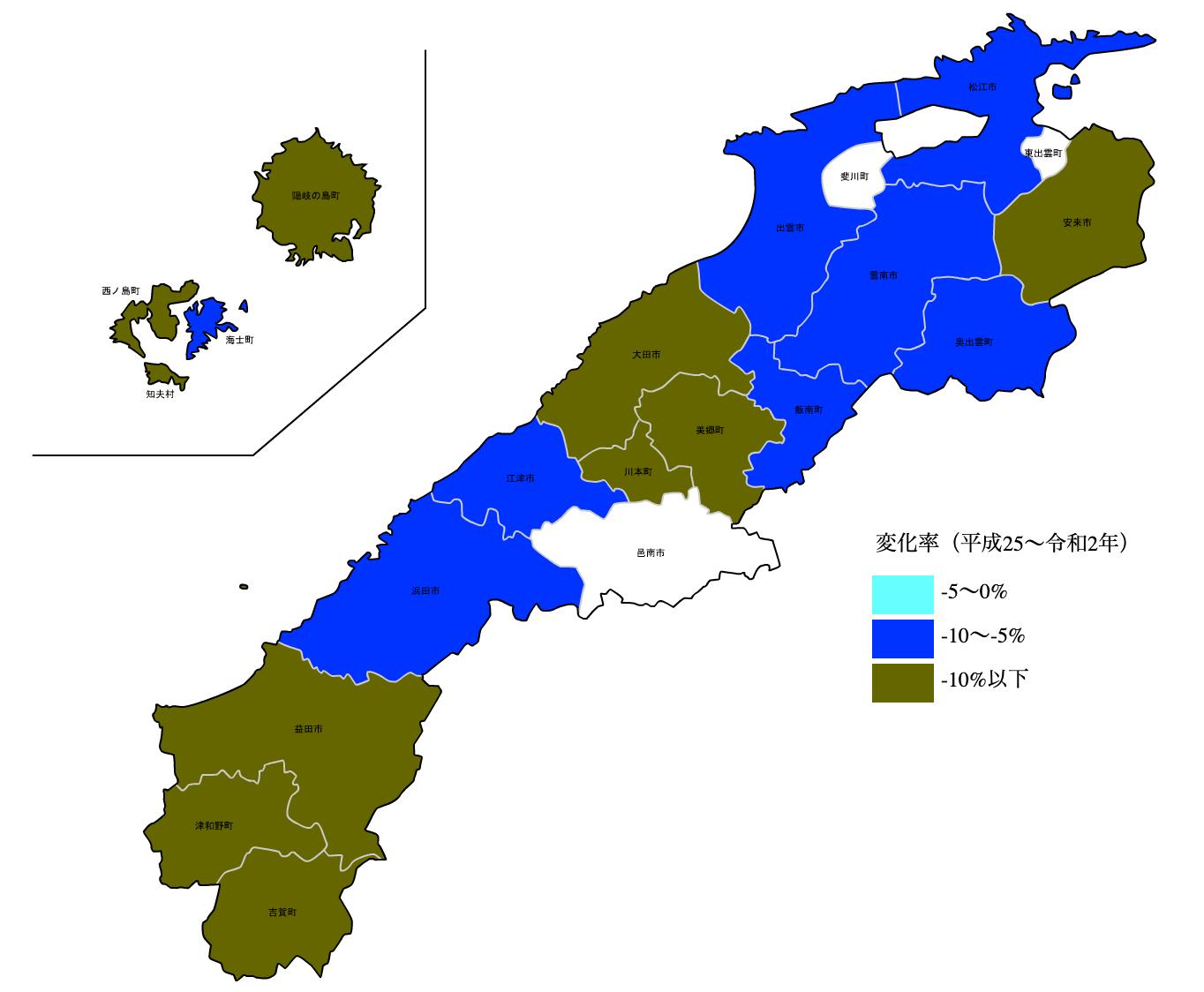 島根県の公示地価の変化率マップ