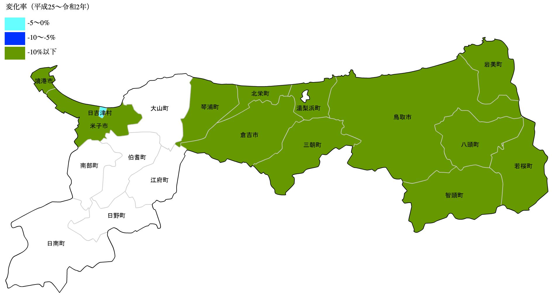 鳥取県の公示地価の変化率マップ
