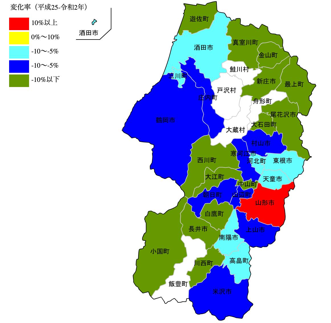 山形県の公示地価の変化率マップ