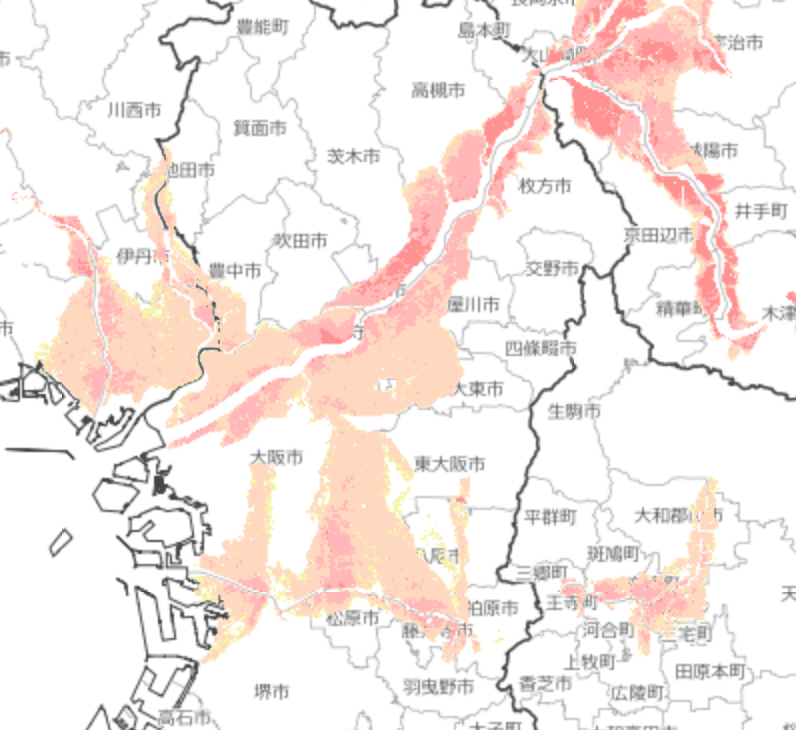大阪府のハザードマップ