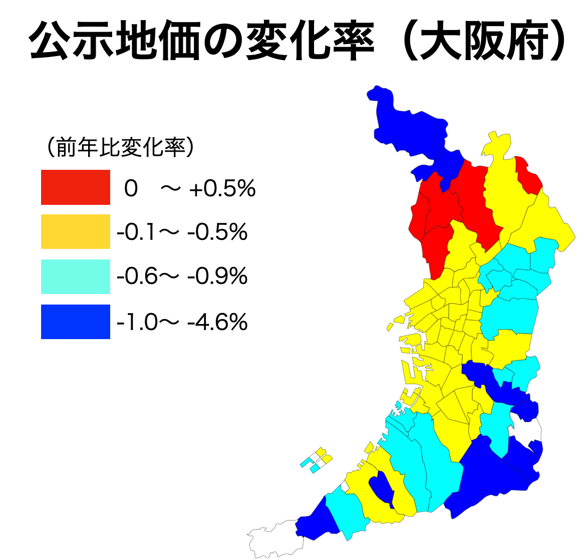 大阪府の公示地価の前年比変化率