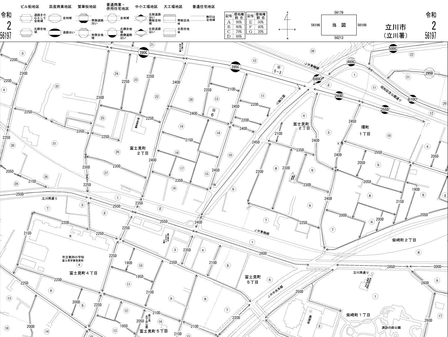 立川市の路線価図