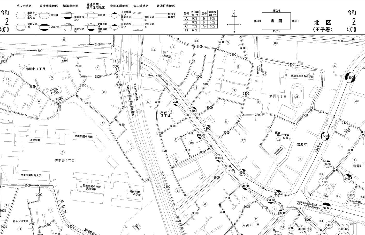 東京都北区の路線価図