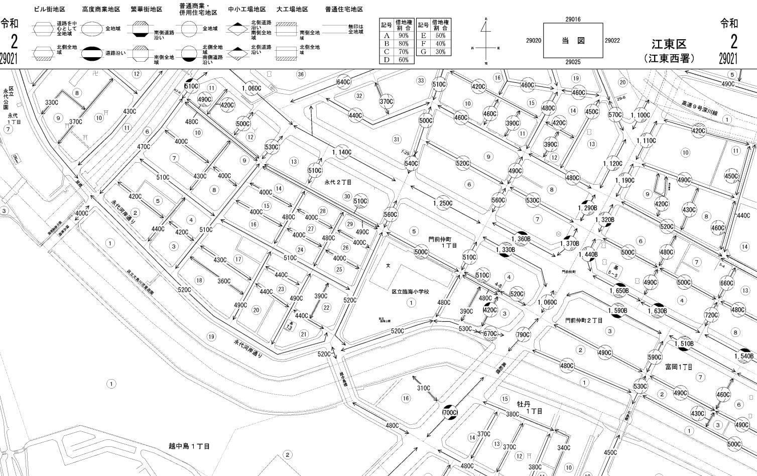 東京都江東区の路線価図