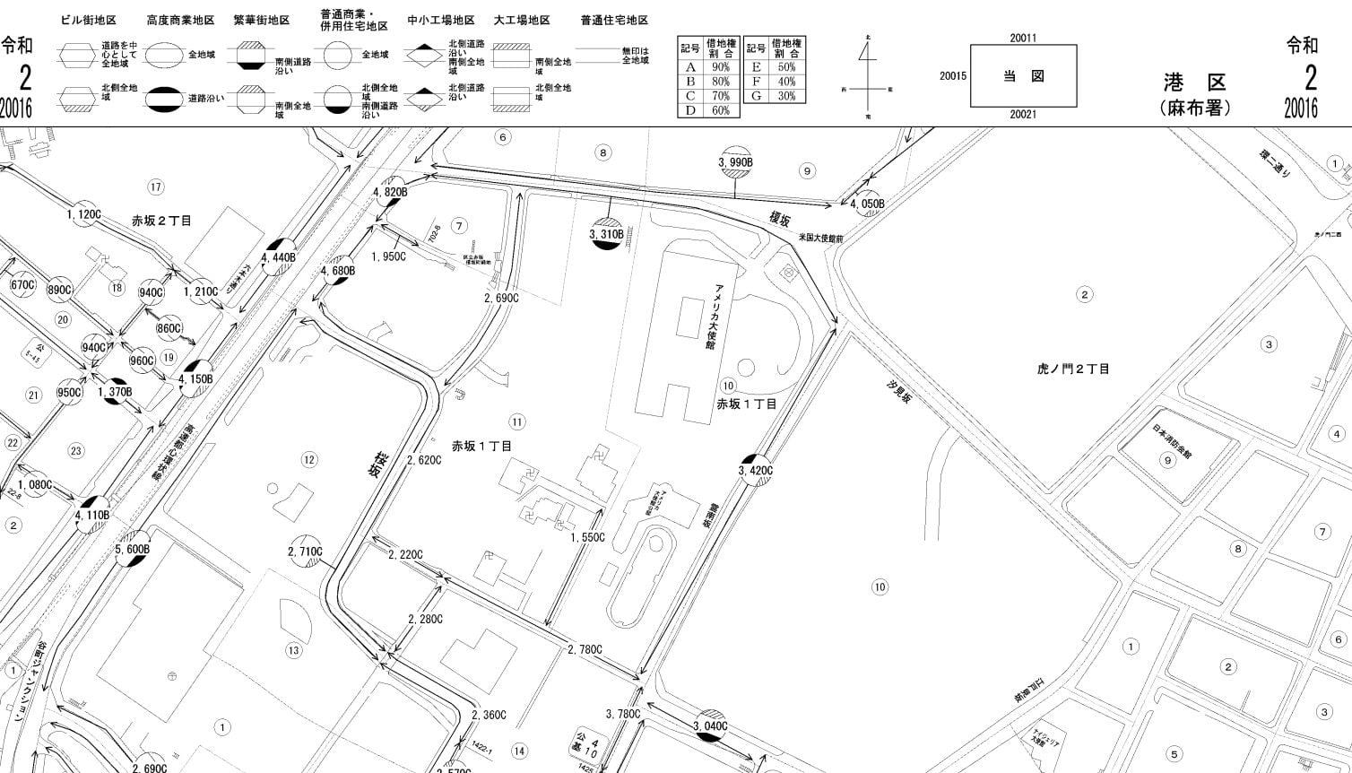 東京都港区の路線価図
