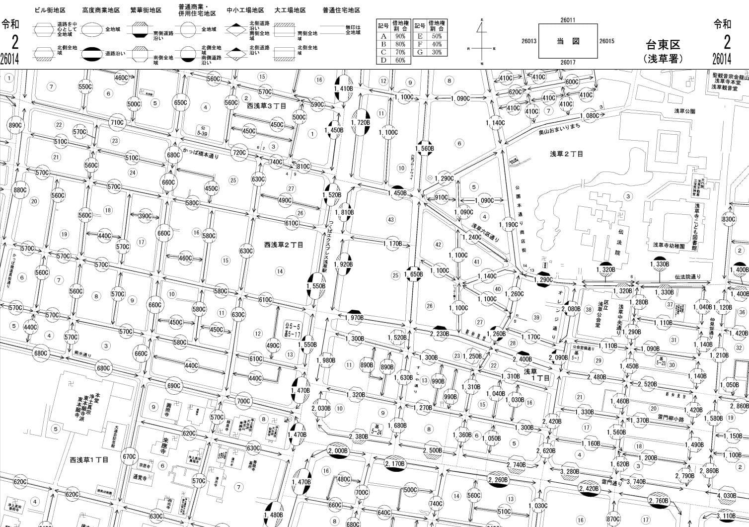 東京都台東区の路線価図