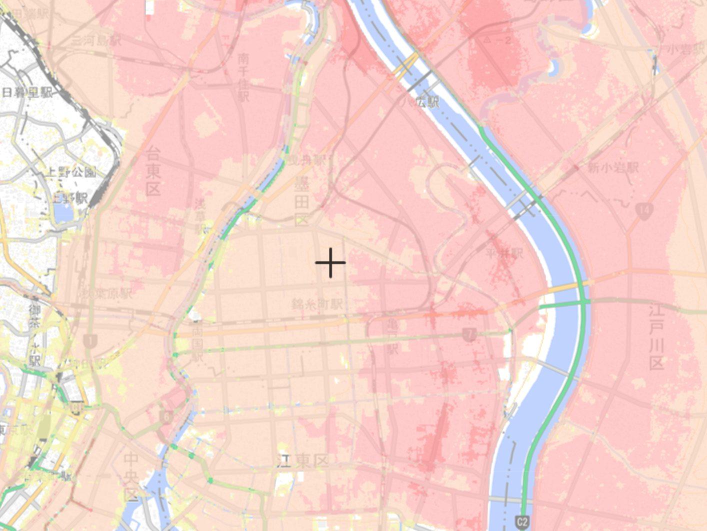 墨田区の洪水ハザードマップ